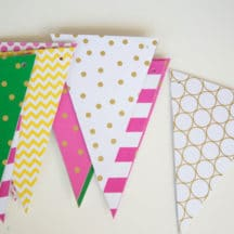 DIY Party Banner - made with yardstick and chipboard pieces - such a fun party decoration for many occasions!