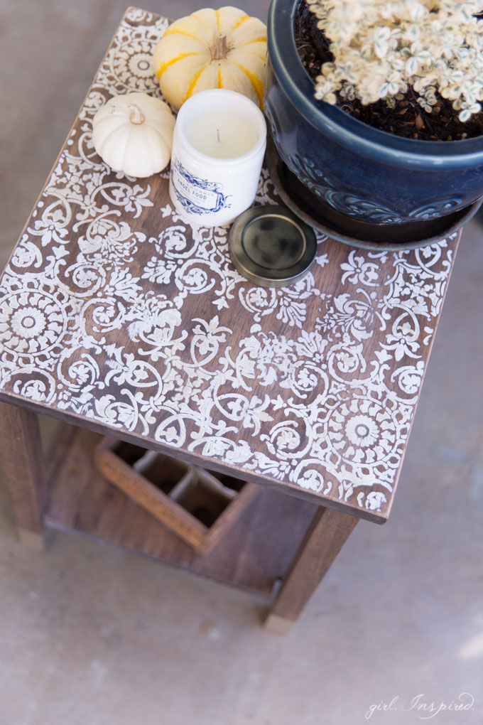 Diy Stenciled Side Table Girl Inspired