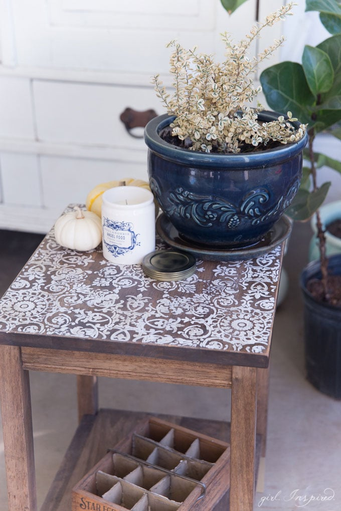 DIY Stenciled Side Table - Personalize and customize unfinished furniture with stain, paint, and stenciling.