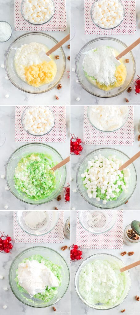 step by step photo collage of mixing pistachio fluff salad ingredients into clear glass bowl - cottage cheese, crushed pineapple, pistachio pudding mix, marshmallows, and cool whip, with maraschino cherries and red and white polka dot linen next to bowl