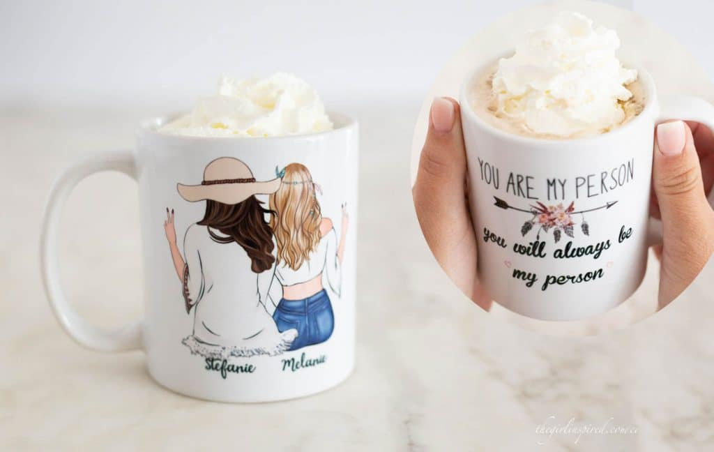 Collage photo of white mug on marble counter with back view of two women sitting in beach wear with personalized names and a quote