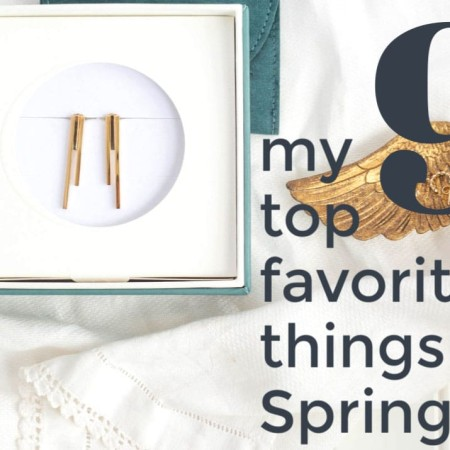 """Photo collage and text overlay """"my favorite things for spring"""", gold earrings in teal box, golden angel wing jewelry dish"""