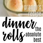 dinner rolls stacked in a bread basket with white and blue floral linen, baking dish with rolls and text overlay