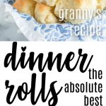 dinner rolls stacked in a bread basket with white and blue floral linen, baking dish with rolls, closeup of pulled apart roll and text overlay