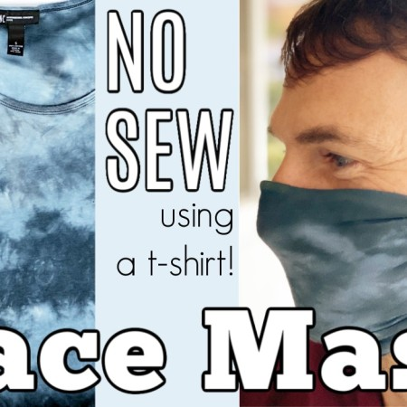 man wearing blue face mask, blue t-shirt, and text overlay