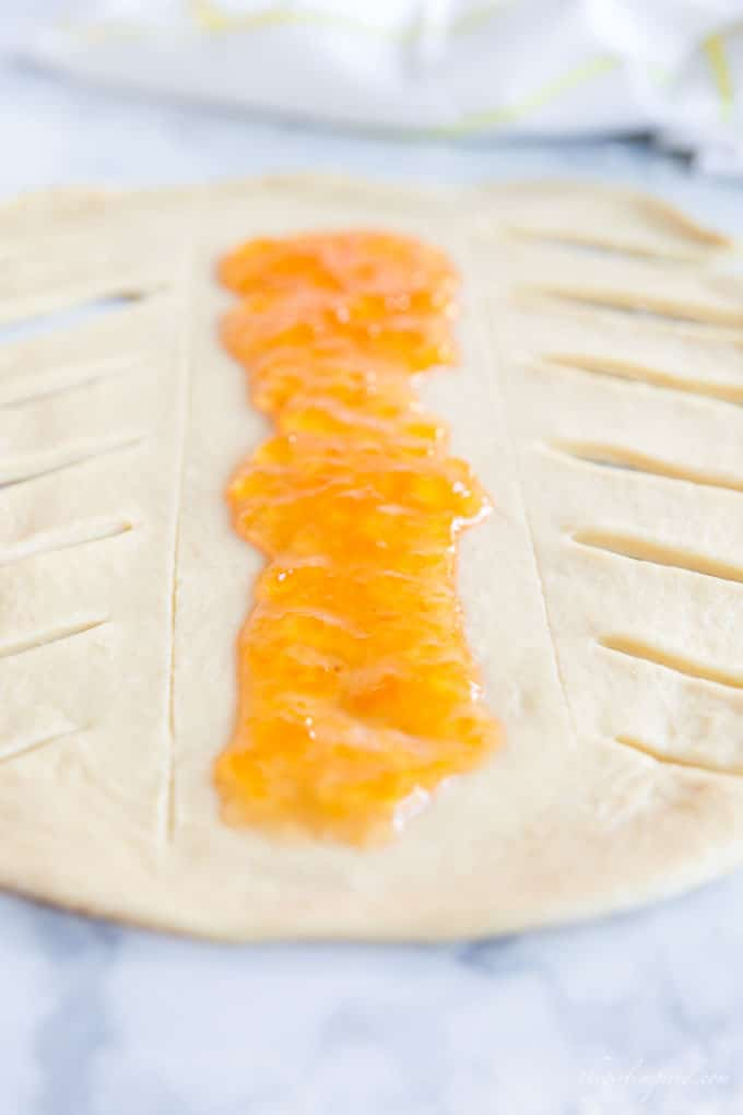 sweet bread dough with apricot filling