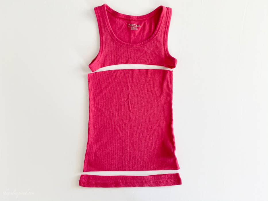 bright pink tank top cut into three sections