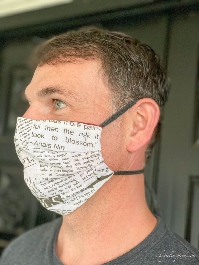 male modeling newsprint serged face mask