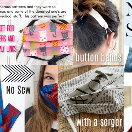 collage of fabrics and face masks and text