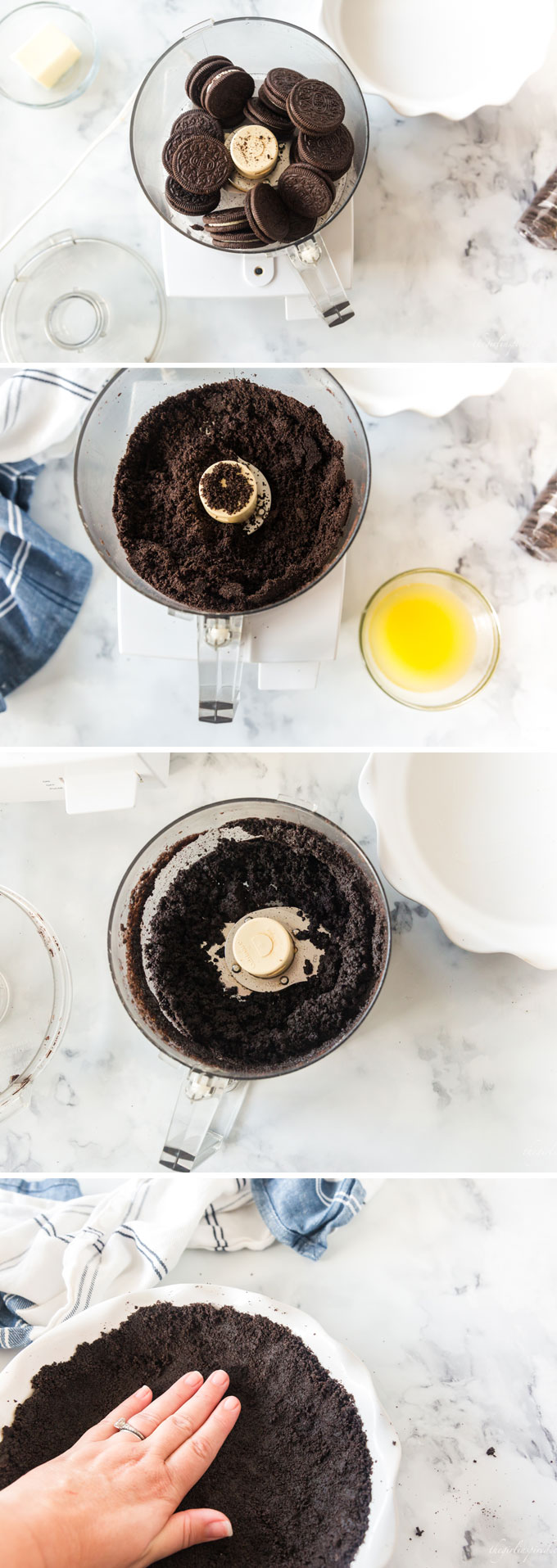 four step photo collage showing Oreos in food processor , blending, adding butter, and pressing into white pie plate with blue towel in background