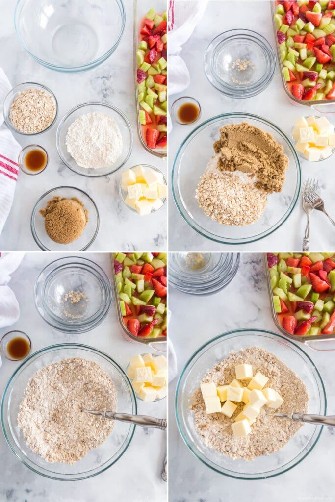 photo collage with bowls of brown sugar, flour, oats, and butter and step by step mixing ingredients to make the strawberry rhubarb crisp