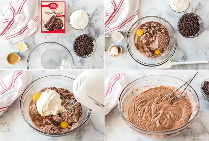 photo collage of cake ingredients in glass bowls - eggs, cake mix, sour cream, and chocolate chips