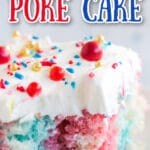 cut square of 4th of July poke cake on white plate with plate stack and milk in background