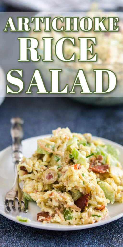 artichoke rice salad on white plate with fork and text overlay