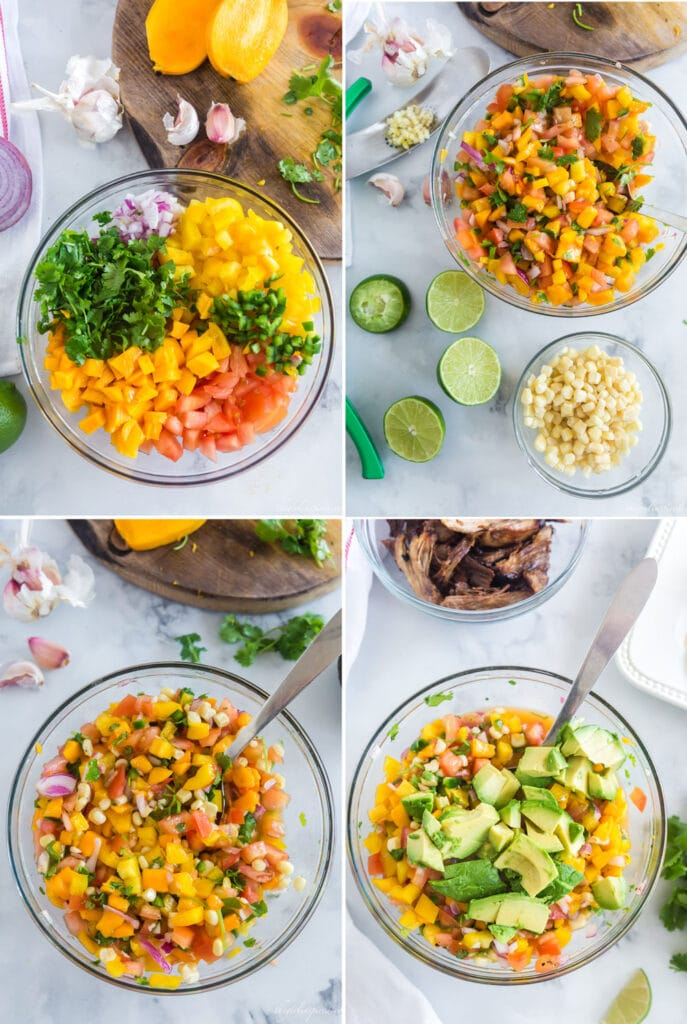 step by step photo collage showing diced vegetables and herbs, then the mixed ingredients with limes and a bowl of white corn, then all ingredients mixed, then avocado chunks being stirred in