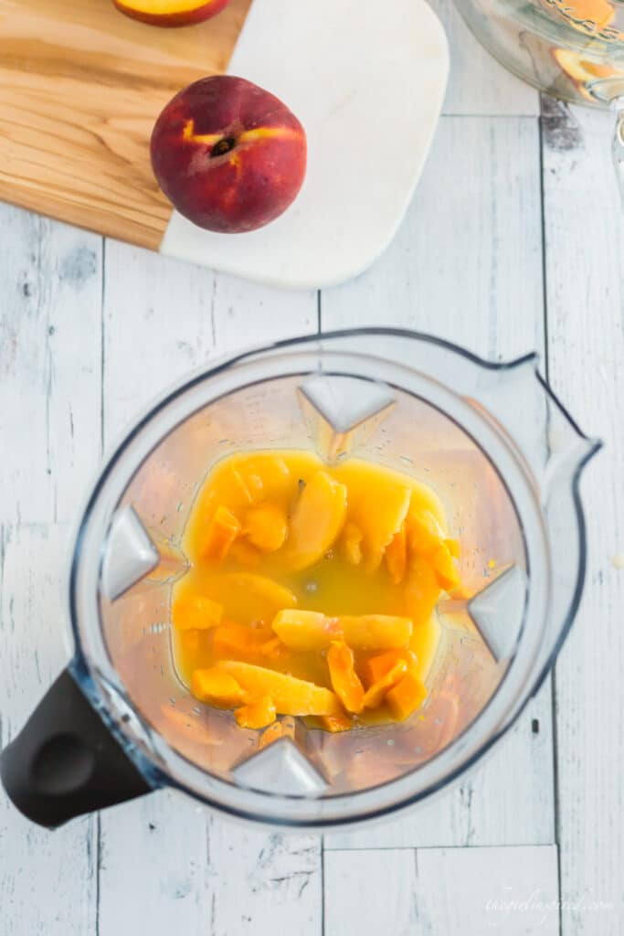 peaches and mango slices in blender