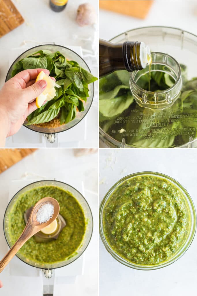 four photo collage of lemon squeezed into food processor with basil leaves, pouring oil into food processor, wooden spoon with salt over food processor with pesto, and finished pesto in glass bowl