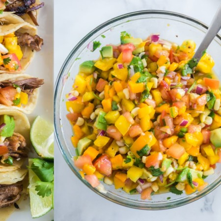 photo collage overhead of mango salsa in glass bowl and topping a line of tacos on a white plate