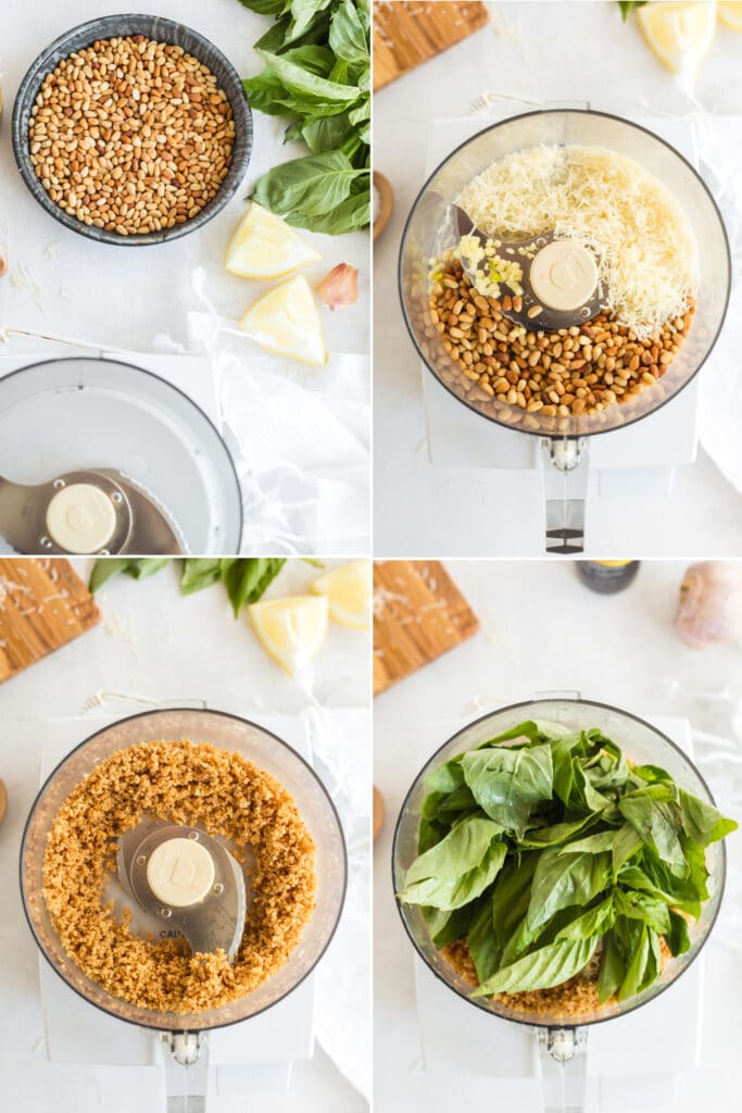 4 photo collage of pesto ingredients, pine nuts and cheese in food processor, blended pine nuts, and basil leaves in food processor