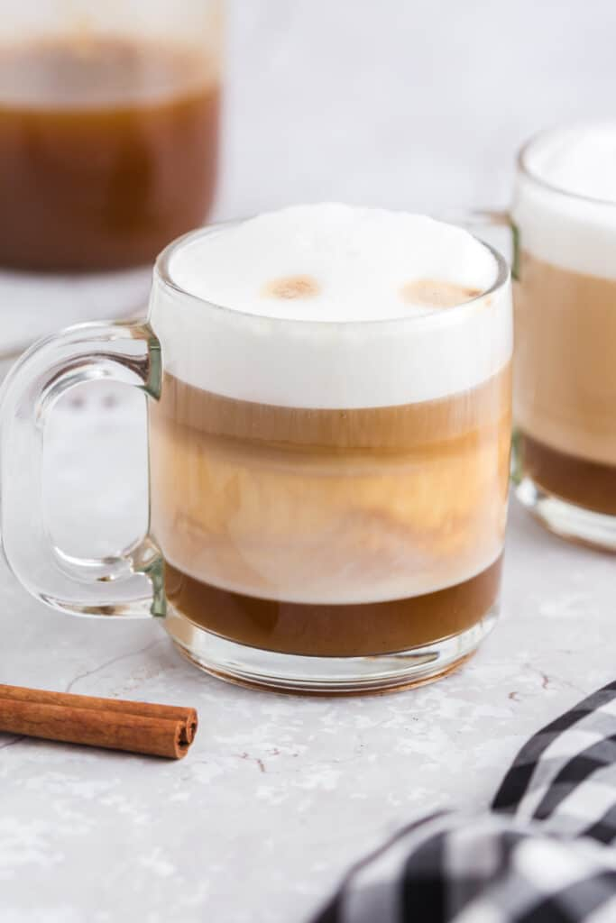 side view of layers of pumpkin spice latte
