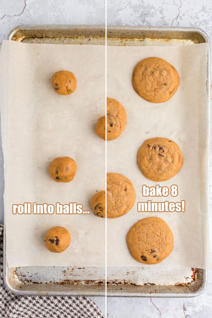 balls of cookie dough on one half of baking sheet and cooked cookies on the opposite side of the baking sheet