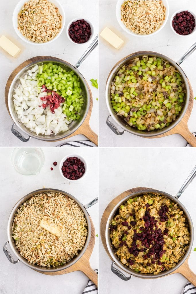 4 photo collage of steps making stuffing - celery, onions, and giblets in saucepan, cooked vegetables and giblets in saucepan, breadcrumbs and butter added to saucepan, cranberries added to finished stuffing in saucepan
