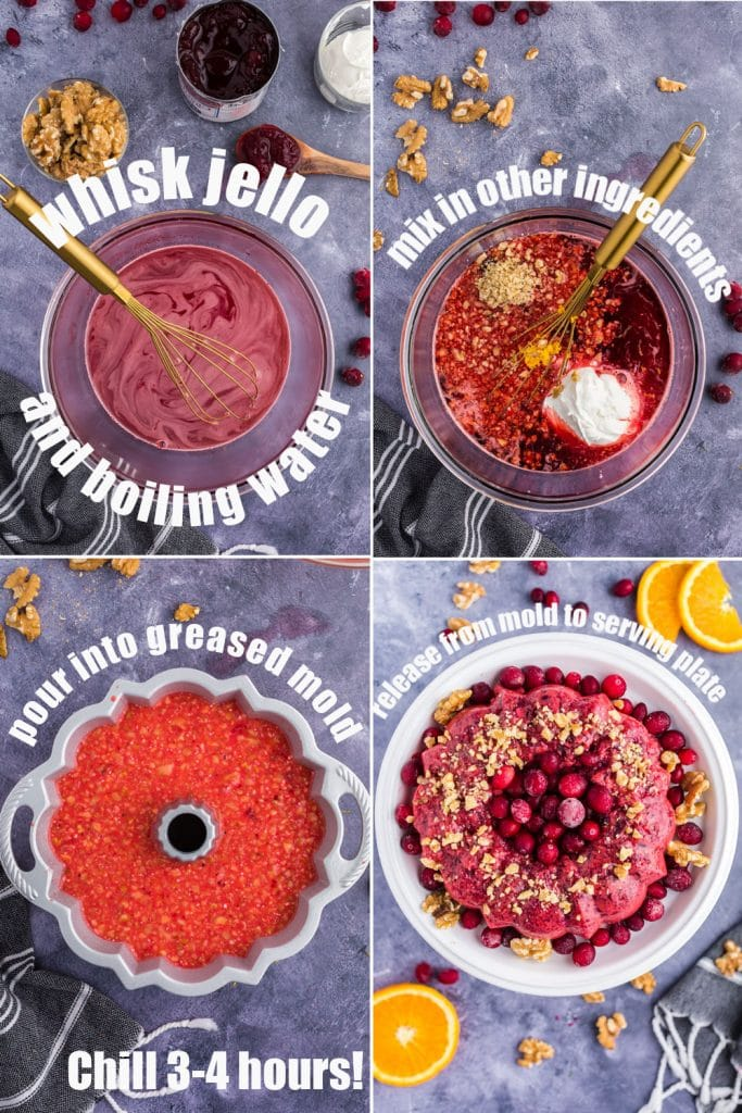 4 photo collage of 1)whisk mixing jello in clear bowl 2)sour cream, orange zest, walnuts added to bowl 3) jello in bundt pan jello mold 4) molded cranberry jello salad garnished on serving platter
