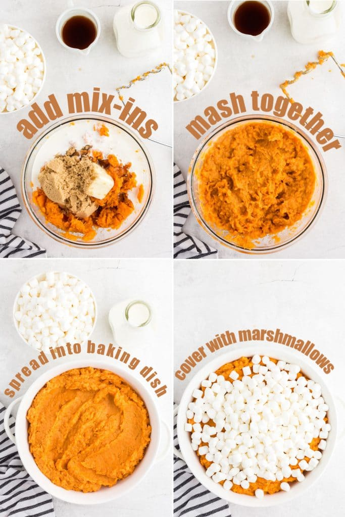 four photo collage of yams in bowl with brown sugar, mashed together, spread in white casserole dish, and covered in marshmallows
