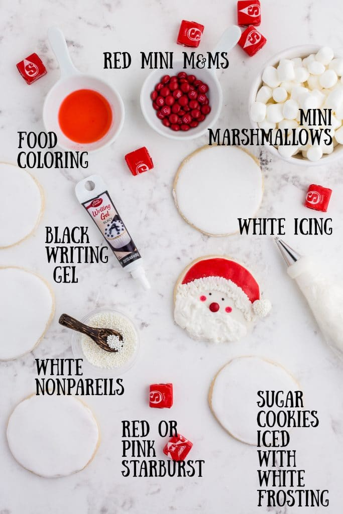ingredients for santa cookies with labels