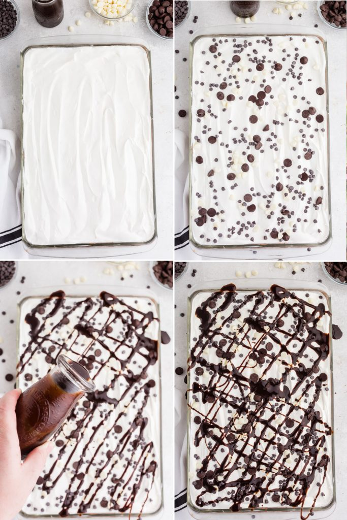 photo collage showing the process of topping the chocolate lasagna with Cool Whip, chocolate chips, and chocolate sauce