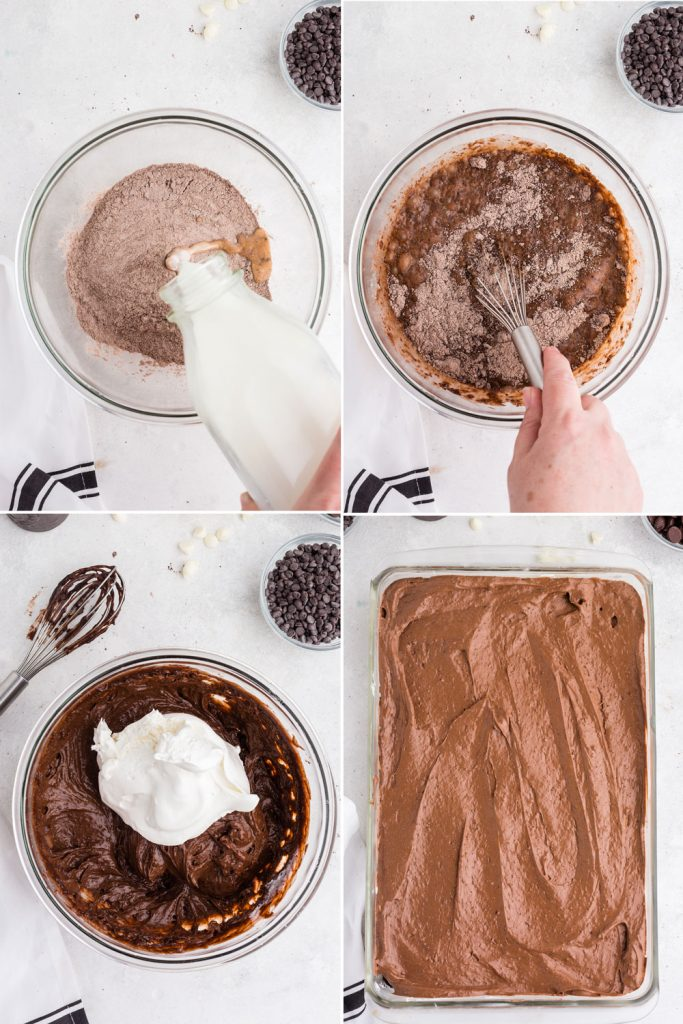 photo collage showing the process of mixing up the pudding layer and spreading on the cream cheese layer