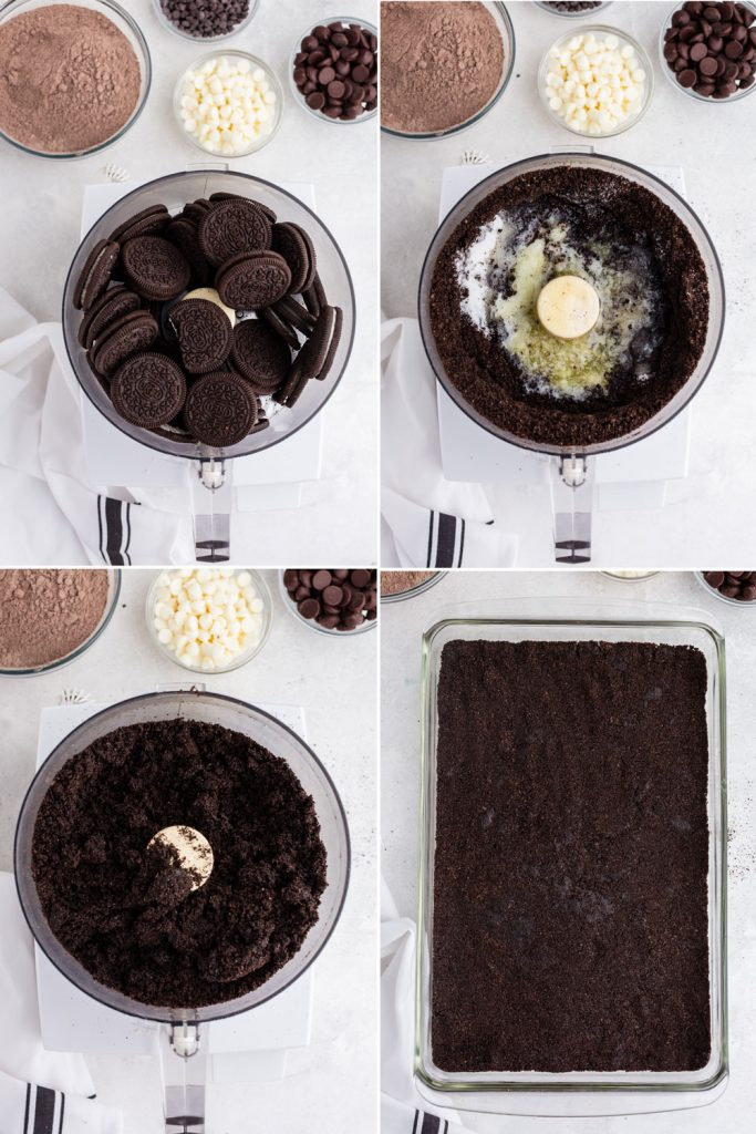 photo collage showing the process of crumbling cookies, adding melted butter and sugar, and pressed into glass baking dish