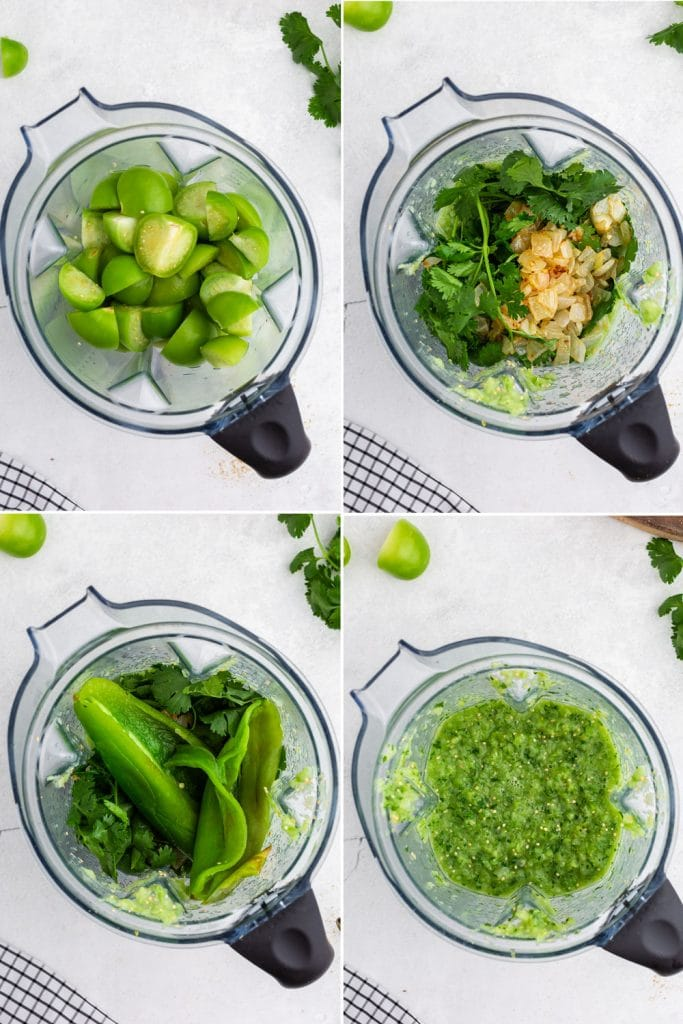 photo collage of process of adding tomatillos, cilantro, onion, and chiles to blender and the blended green sauce