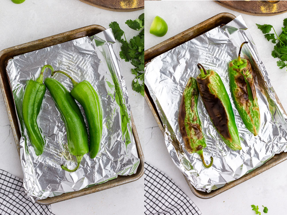 side by side photos of chiles on aluminum-lined baking sheet before and after being roasted