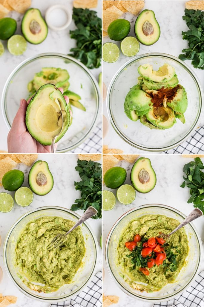 photo collage of step by step making guacamole - scooping avocado from its skin, avocado and spices in glass bowl, mashing the ingredients, and chopped tomato and cilantro placed in the bowl with the mashed avocado