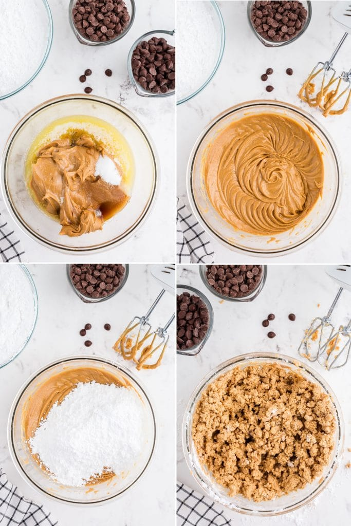 photo collage showing step by step mixing peanut butter, butter, powdered sugar and ingredients to make the peanut butter mixture for the hearts