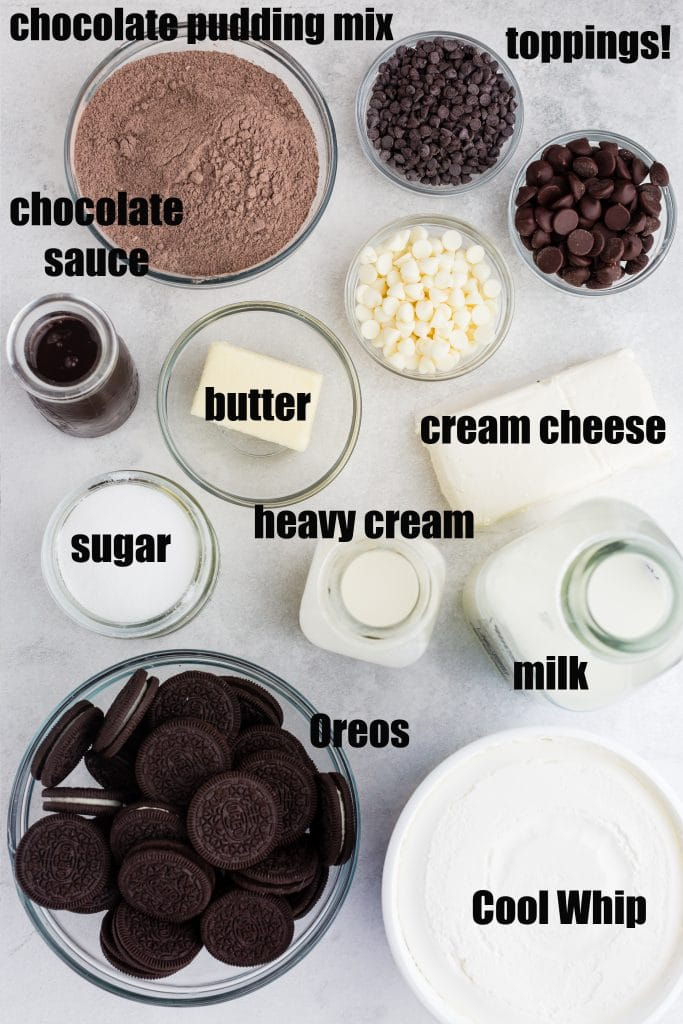 labeled ingredients for chocolate lasagna in individual bowls: pudding mix, chocolate sauce, Oreos, sugar, cream and milk, Cool Whip, cream cheese, and chocolate chips in different flavors/sizes