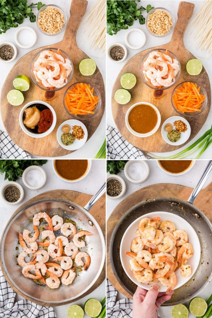 photo collage of peanut sauce ingredients mixed together, bowls of shrimp, carrots, shrimp sauteeing in pan