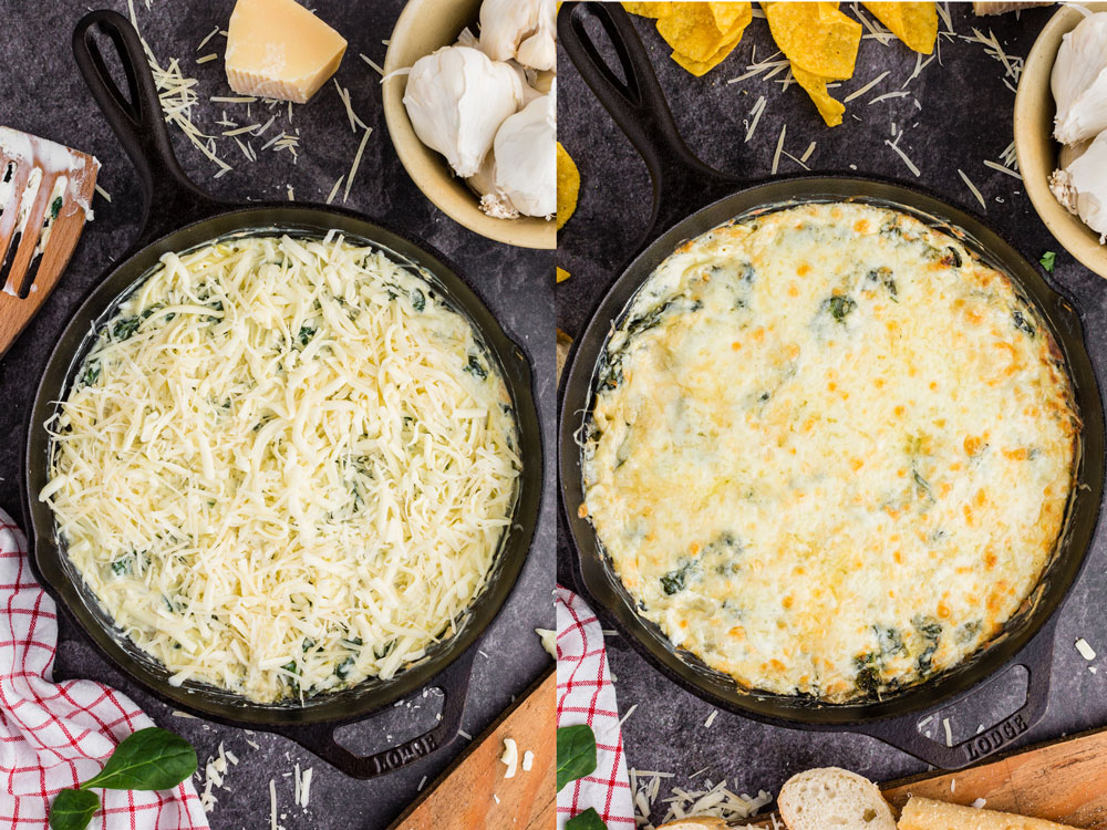 side by side of spinach artichoke dip with cheese sprinkled on top and then baked and melted in cast iron skillet