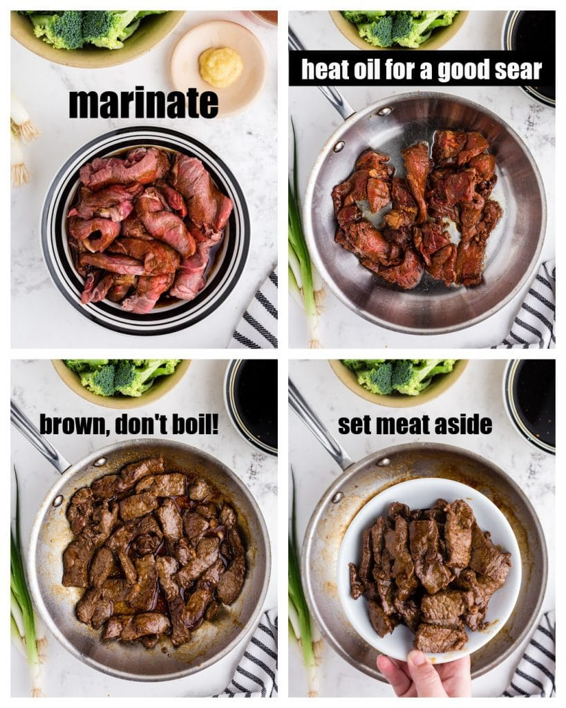 photo collage of beef in bowl with marinade, beef added to saute pan, browned beef in saute pan, and beef on white plate over pan with text