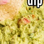 guacamole in clear glass bowl with chip dipping into it and chips; test overlay