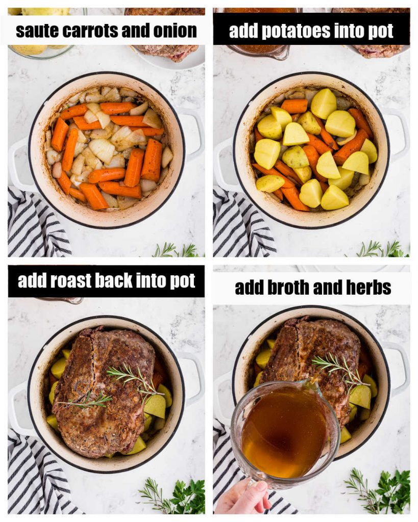 photo collage showing steps of browning carrots and onions in dutch oven, potatoes and browned roast added in, and broth pouring into pot