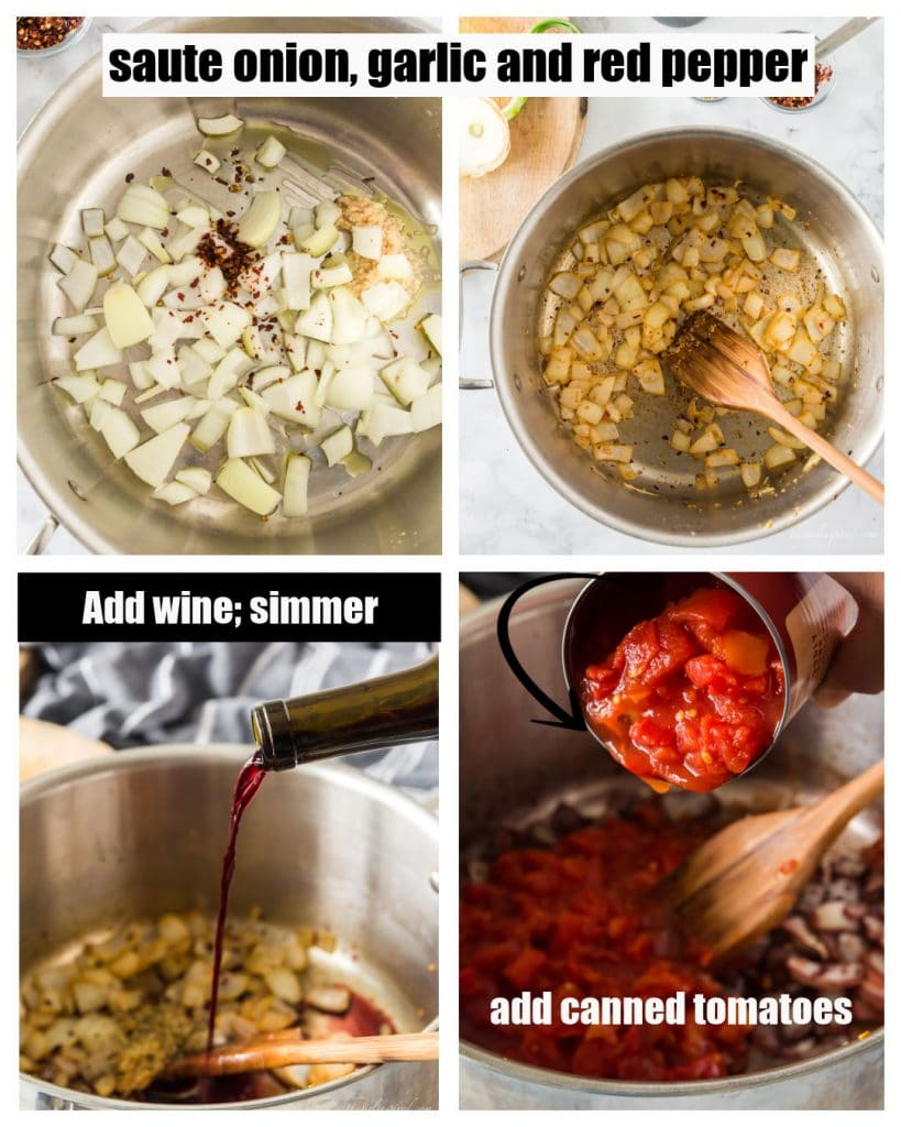 photo collage showing steps of sauteeing onion and garlic, adding wine, and adding canned tomatoes - with text overlay