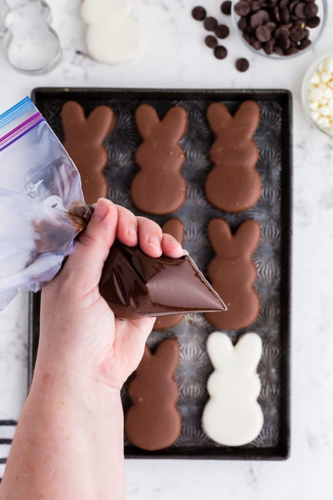 piping bag with chocolate held over pan of chocolate bunnies