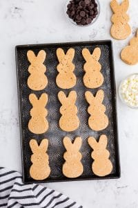 bunny peanut butter shapes on sheet pan