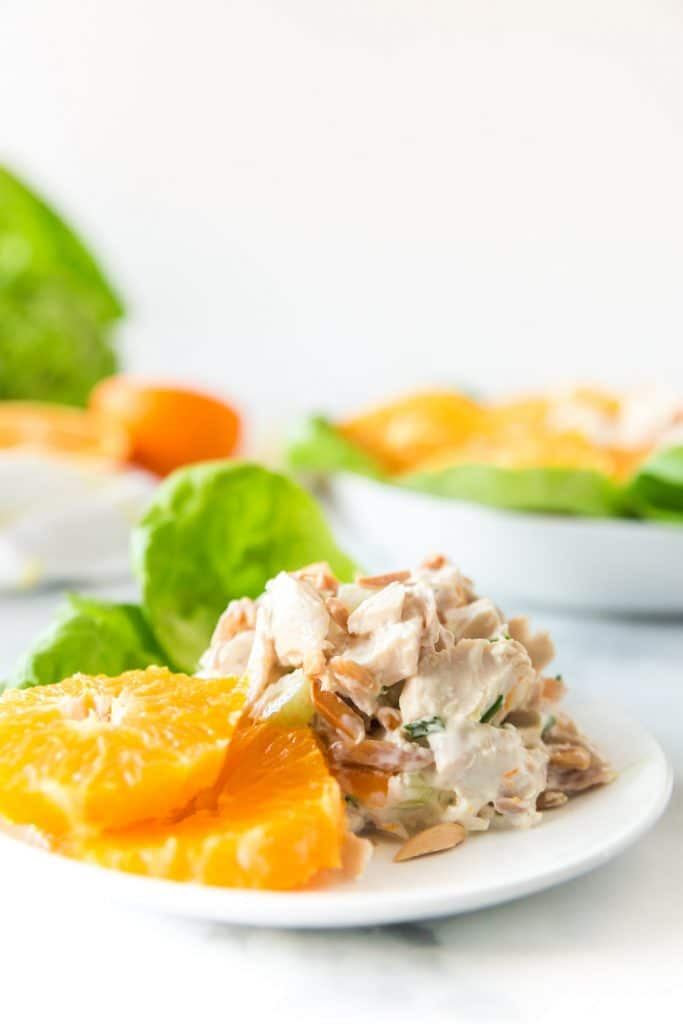 chicken salad and orange slices on white plate
