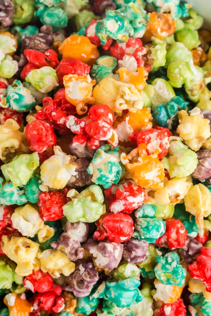 close up of mixed colors of rainbow popcorn