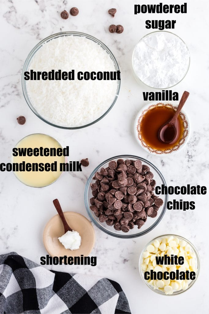 ingredients set out in separate dishes: coconut, sweetened condensed milk, chocolate chips, vanilla, powdered sugar, shortening