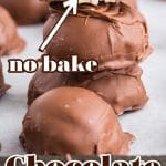 stacked chocolate coconut balls with top ball split open with text overlay