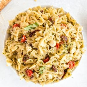 pesto pasta salad in bowl